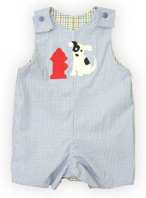 Glorimont Faithful Firedog blue and white checked reversible shortall with a dog and fire hydrant on the front. Adorable.