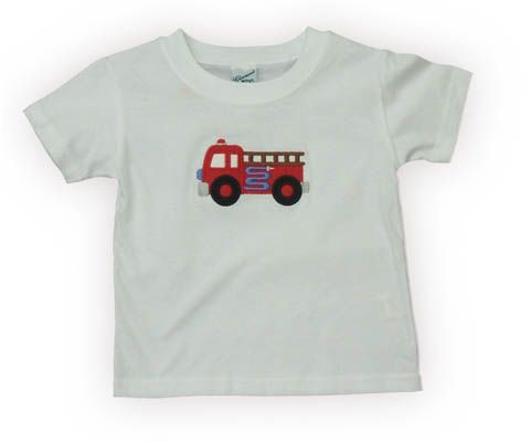 Glorimont Fire Engine Lane white tee shirt with a fire truck on the front. Very cute and perfect for jeans, shorts, swimtrunks, and many other bottoms.
