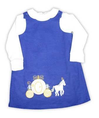 Glorimont Mice After Midnight blue soft corduroy jumper with Cinderella and He servants scene appliqued on the front and soft knit cotton blouse with ric rac.
