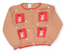 Glorimont Raining Reindeer cute brown cardigan sweater with four reindeer pictures on the front and snowflakes. Super cute and looks great with a pair of jeans and a cute skirt.