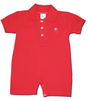 Glorimont Sailing the Seven Seas red polo romper with an embroiderd sailboat on the front. Very classic and cute.