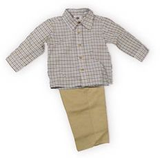 Good Lad Daddy's Favorite boys blue and brown check button down collared shirt with khaki pants with front pockets and elastic. So adorable.