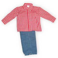 Good Lad Grandpa's Favorite boys red check button down collared shirt with denim pants with elastic. So adorable.
