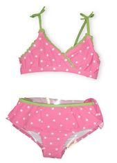 Hartstrings Butterfly Island two piece swimsuit that is pink with white polka dots and lime green trim and tie.
