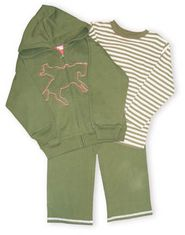 Hartstrings Equestrian Country french terry green hooded zip jacket with a cowboy scene on the front and matching striped shirt. Also comes with french terry green pants.