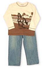 Hartstrings Equestrian Country khaki colored shirt with a galloping horse scene and nice denim pants.
