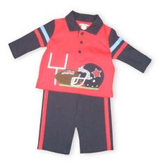Hartstrings First Down soft cotton collared red, navy, and blue shirt with a football scene on the front and matching pants.