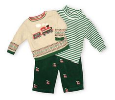 Hartstrings Holiday Express oatmeal pullover sweater with a train scene on the front. Also comes with a cotton green striped onesie turtleneck and green, train embroidered pants.