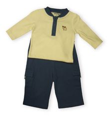 Hartstrings Moose Lodge soft cotton ecru onsie with a moose on the front and matching blue cotton cargo pants.