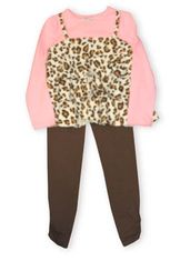 Hartstrings Park Avenue leopard and raspberry tunic with matching brown pants.