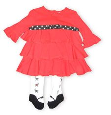 Hartstrings Picture Perfect red cotton tiered dress and matching diaper cover. Also comes with cute mary jane tights with dogs on them.