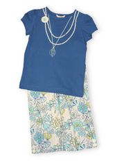 Hartstrings Port of Call blue cotton jersey shirt with a necklace print and matching poplin capris with seashells, sand dollars, and coral on them. Very cute and great for school and everyday wear.
