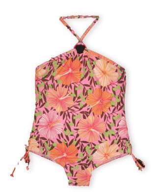 Hartstrings Spring Break halter one piece swimsuit with floral print.