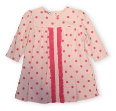 Hartstrings Sweet Life soft cotton pink polka dot dress with some ruffle and diaper cover.