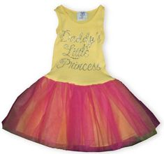 """Haute Stuff Daddy`s Princess yellow sundress with a tutu and words that say """"Daddy`s Little Princess""""."""
