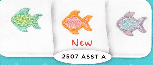Jefferies 2507 Fish Soft white cotton socks with sparkle seahorses. Comes purple, blue, orange.