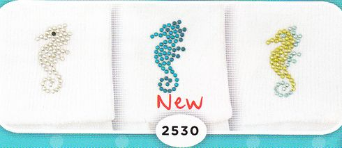 Jefferies 2530 Seahorses Soft white cotton socks with sparkle seahorses. Comes silver, lime and turquoise.