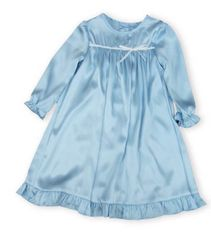 JuJu and Jack Abigail girls clothes soft blue dress with ruffle and a white bow.