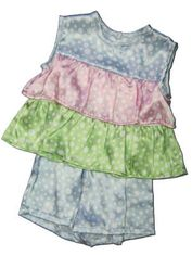 Juju and Jack Beauty Rest tiered lounge set with dots and ruffles. Comfy and fun.