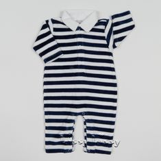 Kissy Kissy City Demo VELOUR Stripe Playsuit w/Collar F17445V-10STC