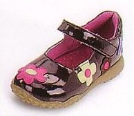 Lamour Patent leather mary janes with multi-colored applique flowers. Solid rubber sole with great grip and a velcro strap makes this shoe sturdy and practical as well as fashionably fun. Comes in brown.