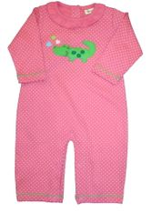 Luigi Alexus the Alligator One Piece Outfit that snaps in the inseam to make changing diapers easier. Peruvian cotton.