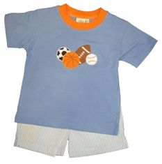 Luigi All Star Sports Boy Soft Knit Shirt with Sports Balls appliqued and matching blue pin stripe cotton shorts.