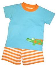 Luigi Allie the Alligator Turquoise Knit Shirt with Alligator and matching Orange and White Shorts. Peruvian Cotton.