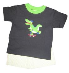 Luigi Alligator Alley Soft Knit Shirt with Alligator appliqued and matching pin stripe cotton shorts.