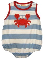 Luigi Baby Crab sleeveless soft knit one piece with crab appliqued. Peruvian pima cotton.