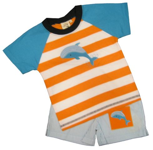 Luigi Baby Dolphin Soft Knit Orange Stripe Shirt with a Dolphin appliqued and matching pin stripe cotton shorts with a dolphin appliqued. Peruvian pima cotton