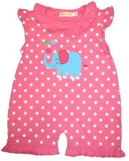Luigi Baby Elephant Soft Knit Pink with Dots one piece with an Elephant appliqued. Peruvian pima cotton.