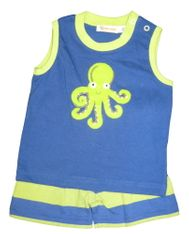 Luigi Baby Octopus soft knit sleeveless shirt with Octopus appliqued and matching knit shorts. Peruvian pima cotton.