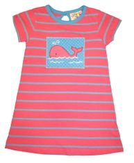 Luigi Baby Whale Soft Knit Pink Stripe Dress with a Whale appliqued. Peruvian pima cotton.