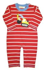 Luigi Back Ho Red and White Stripes Long Sleeve Soft Knit Peruvian Cotton One Piece that snaps in the inseam for easy changing.