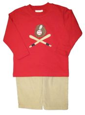 Luigi Baseball Equipment on a soft long sleeve red shirt in Peruvian cotton and matching sand finewale corduroy pants.