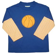 Luigi Basketball on a soft blue knit shirt with orange stripe sleeves. Peruvian soft cotton.