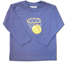 Luigi Basketball Swish blue soft cotton knit shirt with a basketball appliqued on it.