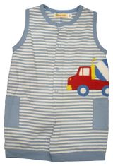 Luigi Big Boy Cement Truck sleeveless soft knit one piece with cement truck appliqued. Peruvian pima cotton.