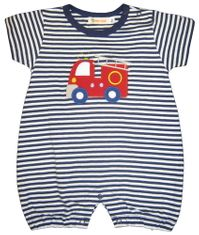 Luigi Big Boy Firetruck soft knit one piece with sleeves with firetruck appliqued. Peruvian pima cotton.