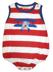 Luigi Big Boy Pilot sleeveless soft knit one piece with plane appliqued. Peruvian pima cotton.