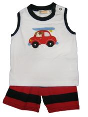 Luigi Big Boy Surfer Dude soft knit sleeveless shirt with car and surfboard appliqued and matching knit shorts. Peruvian pima cotton.