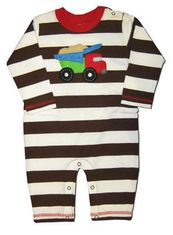 Luigi Big Wheel Dumptruck Romper. Soft pima cotton.