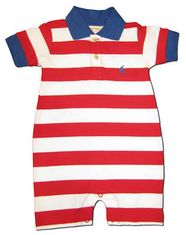 Luigi Blue Sailboat embroidered on a red and white polo romper. So cute. Peruvian cotton.