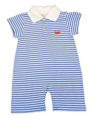 Luigi Boys Beach Fun with Crabs Polo Romper with Crab Embroidery. Peruvian Cotton. Softest Cotton in the World.