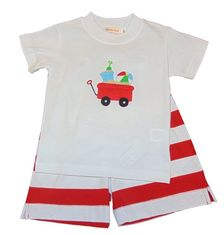 Luigi Boys Beach Wagon with Toys on Knit Shirt with Matching Knit Stripe Shorts. Peruvian pima cotton
