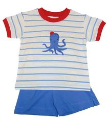 Luigi Boys blue Strip Knit Shirt with Octopus Motif and Matching Shorts. Peruvian pima cotton
