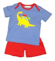 Luigi Boys Dino Overlap Knit Shirt with Dino Motif and Matching Red Shorts. Peruvian pima cotton