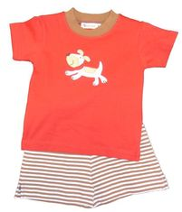 Luigi Boys Dog Knit Shirt with Dog Motif and Matching Knit Stripe Shorts. Peruvian Cotton. Softest Cotton in the World.