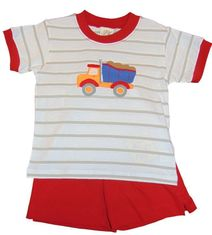 Luigi Boys Dump Truck Knit Shirt and Knit Matching Shorts.Peruvian pima cotton